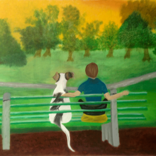 Park Bench with Boy & Dog